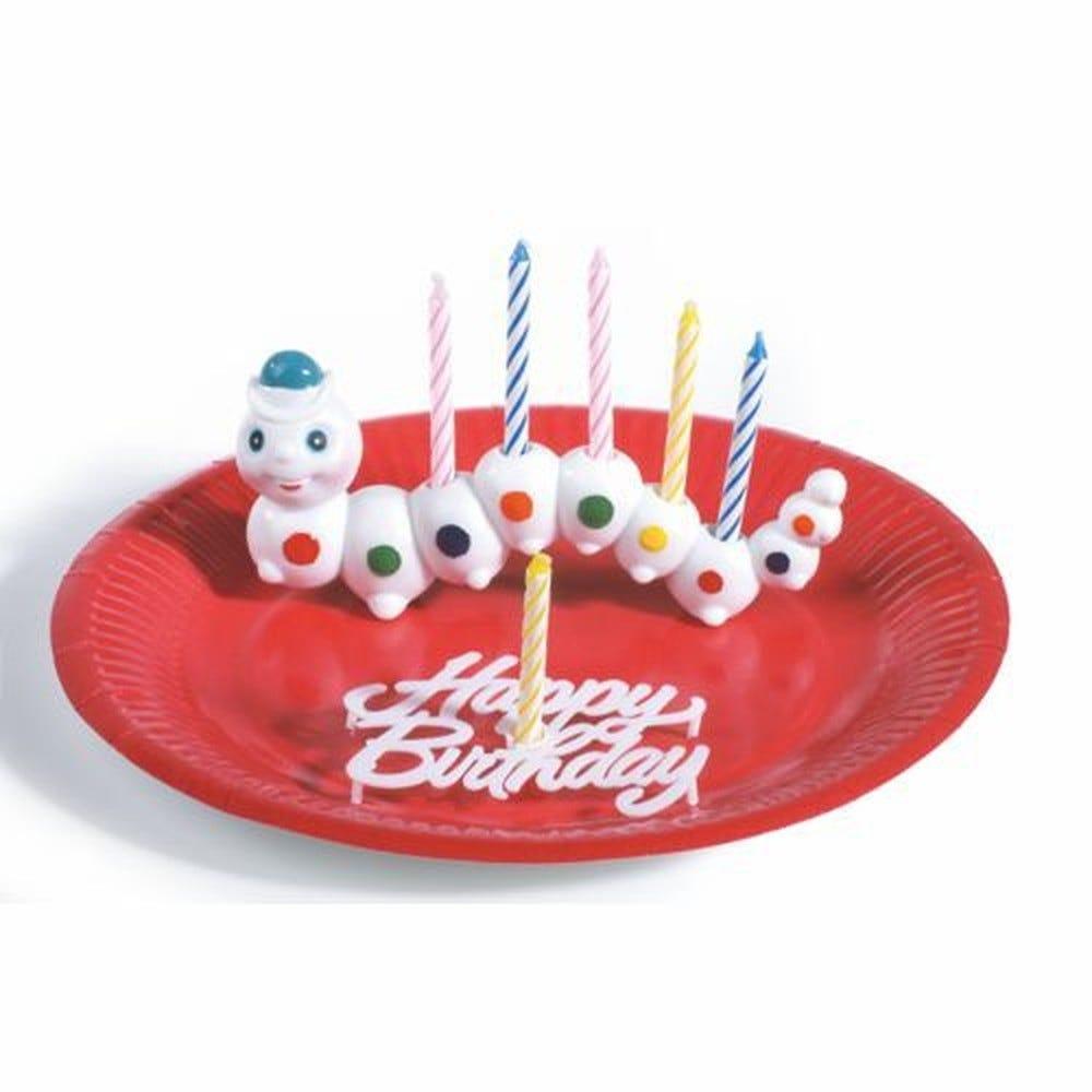 Support de bougies anniversaire 6,5 cm x 15 cm ''Worm'' avec Bougie par 8
