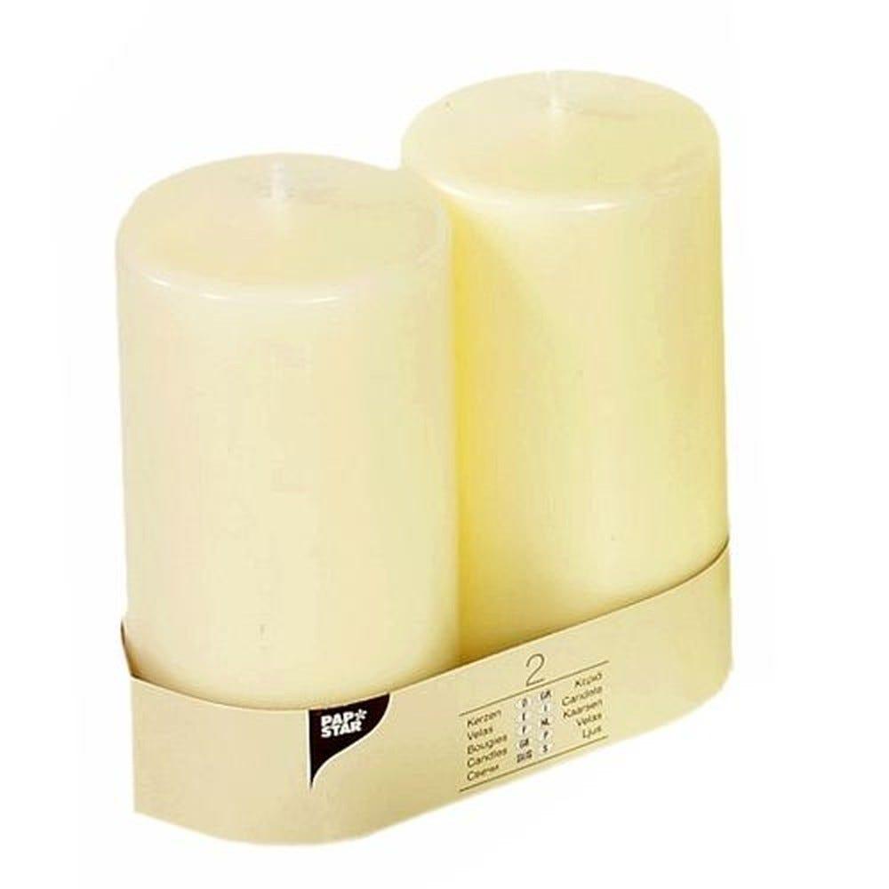 Bougie cylindrique Ø 80 mm · 150 mm ivoire à tête plate par 12