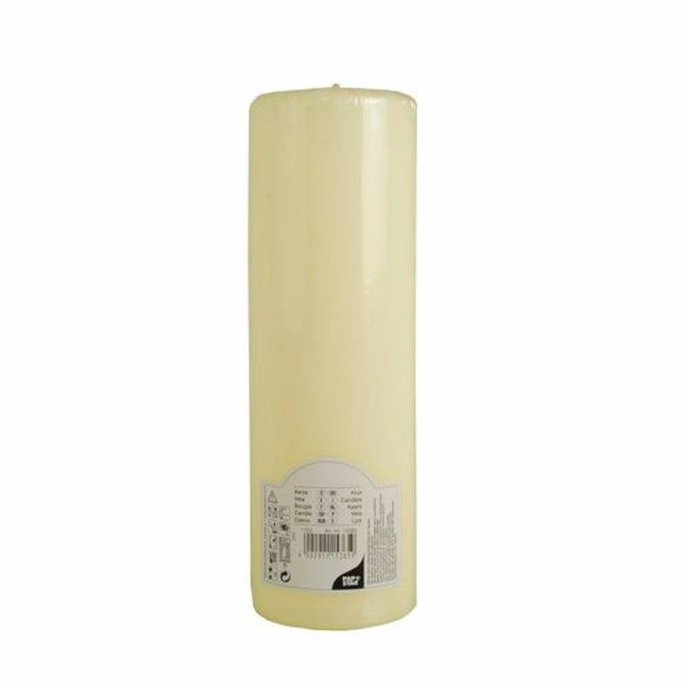 Bougie cylindrique Ø 80 mm · 250 mm ivoire à tête plate par 6