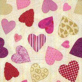 Serviette 3 plis pliage 1/4 33 cm x 33 cm ''Colourful Hearts'' par 200