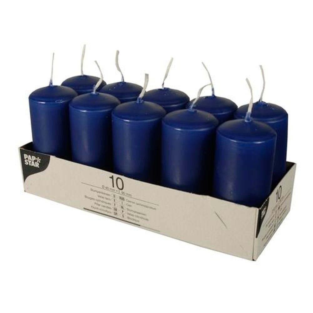 Bougie cylindrique Ø 40 mm · 90 mm bleu foncé par 40