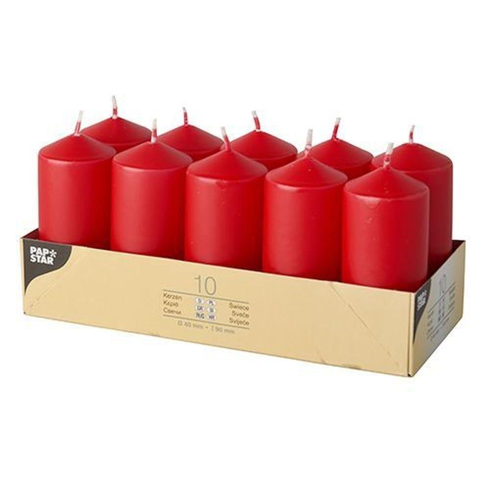 Bougie cylindrique Ø 40 mm · 90 mm rouge par 40