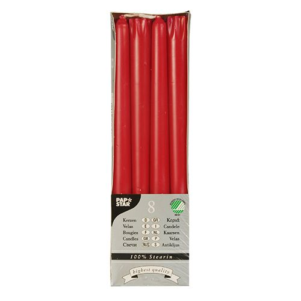 Bougie de chandelier Ø 2,2 cm · 25 cm rouge en 100 % stéarine par 80