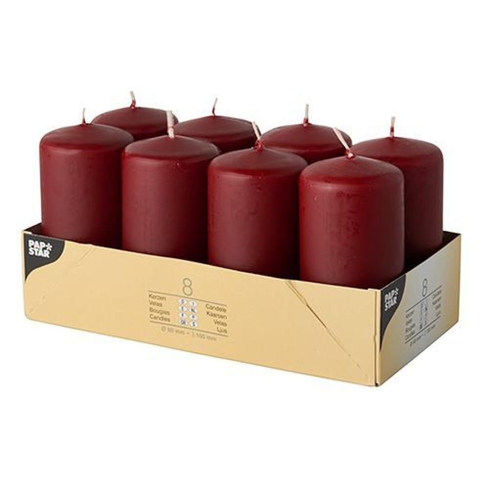 Bougie cylindrique Ø 50 mm · 100 mm bordeaux par 48