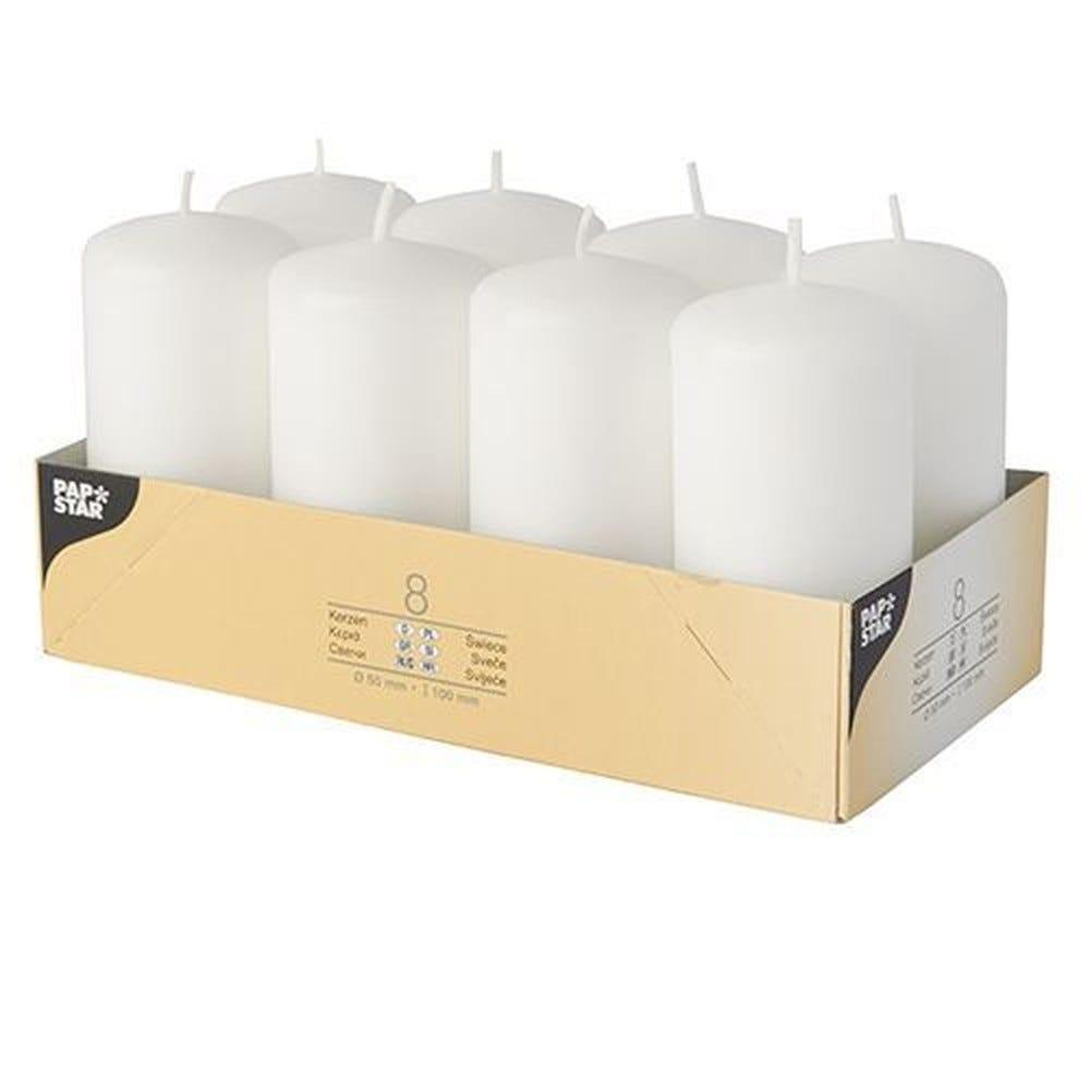 Bougie cylindrique Ø 50 mm · 100 mm blanc par 48