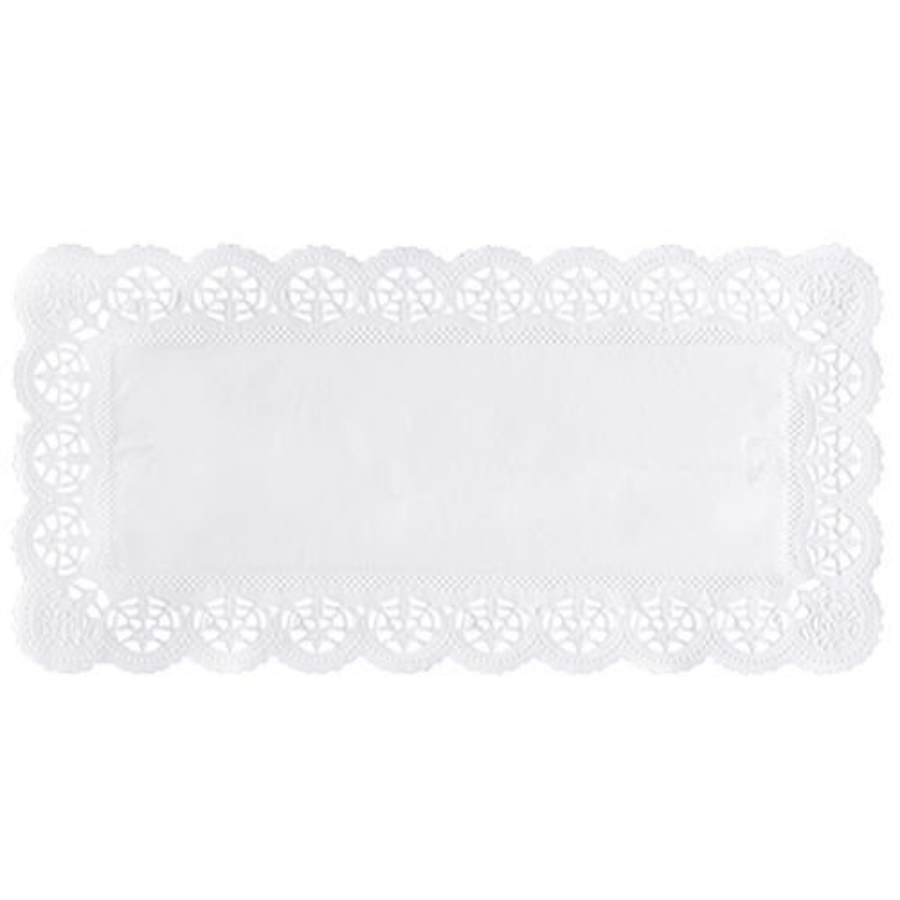 Dentelle en papier rectangulaire 34 cm x 17 cm blanc par 2000