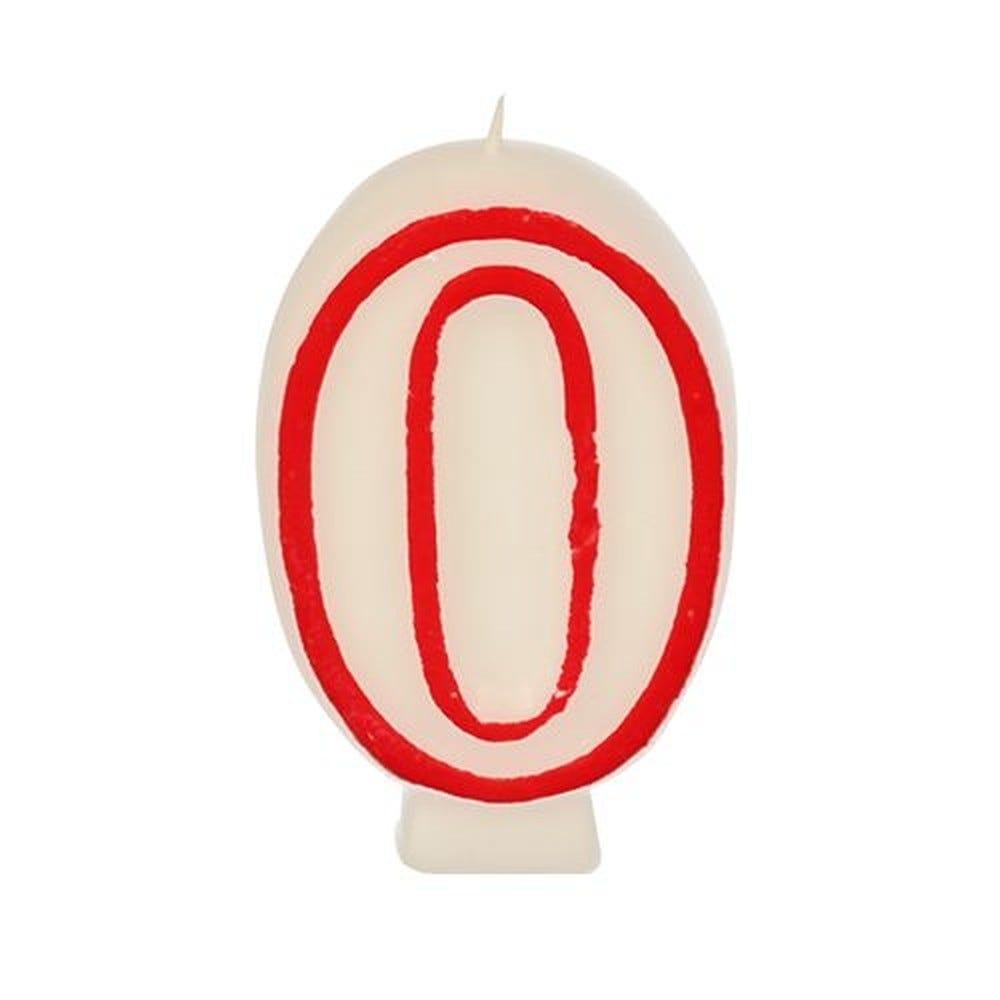 Bougie ''Chiffre'' 7,3 cm blanc ''0'' avec bord rouge par 12