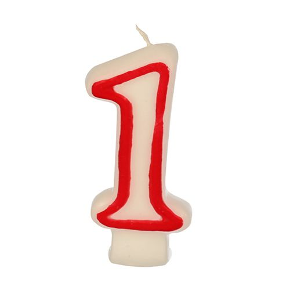 Bougie ''Chiffre'' 7,3 cm blanc ''1'' avec bord rouge par 12