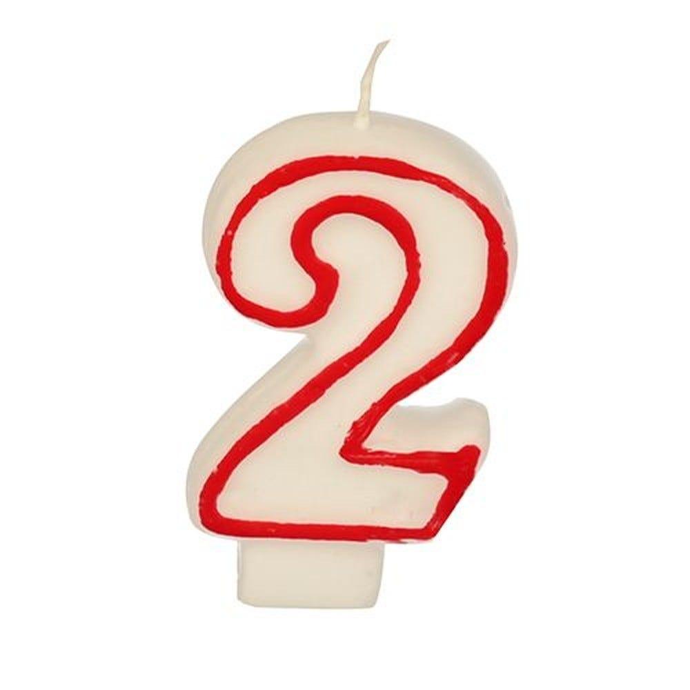Bougie ''Chiffre'' 7,3 cm blanc ''2'' avec bord rouge par 12