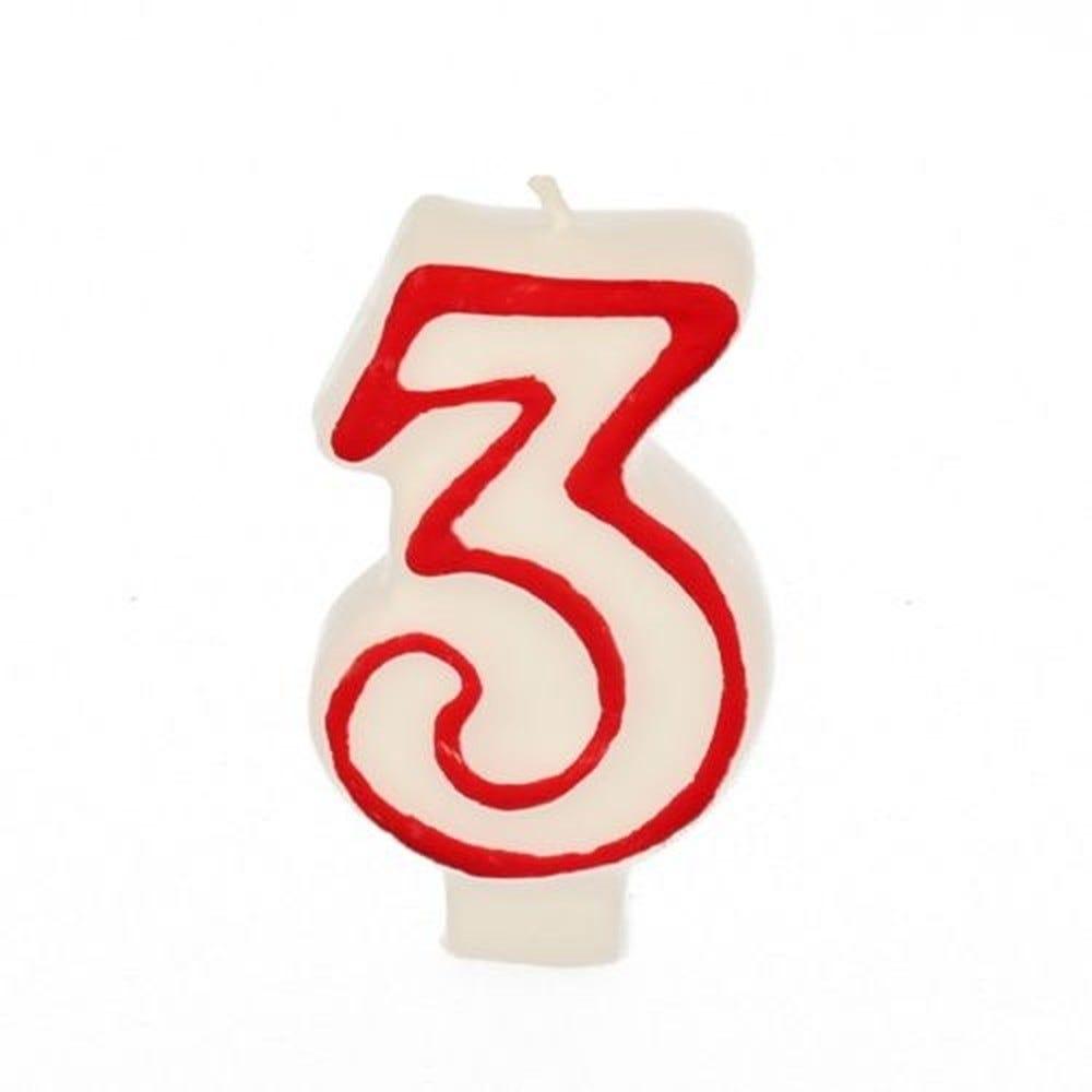 Bougie ''Chiffre'' 7,3 cm blanc ''3'' avec bord rouge par 12
