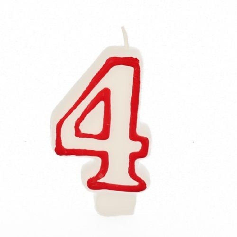 Bougie ''Chiffre'' 7,3 cm blanc ''4'' avec bord rouge par 12
