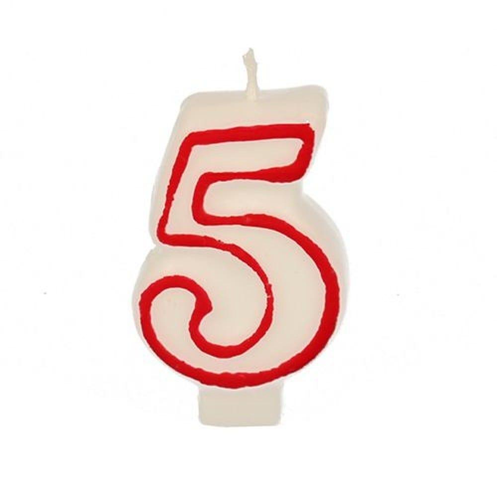 Bougie ''Chiffre'' 7,3 cm blanc ''5'' avec bord rouge par 12