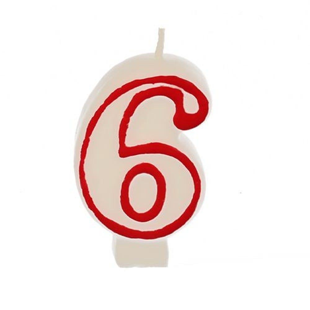 Bougie ''Chiffre'' 7,3 cm blanc ''6'' avec bord rouge par 12