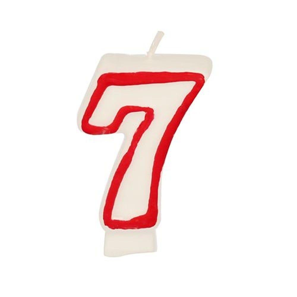 Bougie ''Chiffre'' 7,3 cm blanc ''7'' avec bord rouge par 12