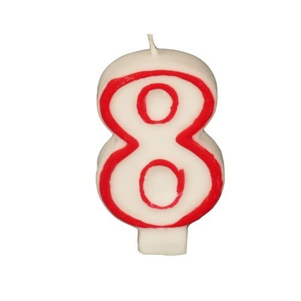 Bougie ''Chiffre'' 7,3 cm blanc ''8'' avec bord rouge par 12