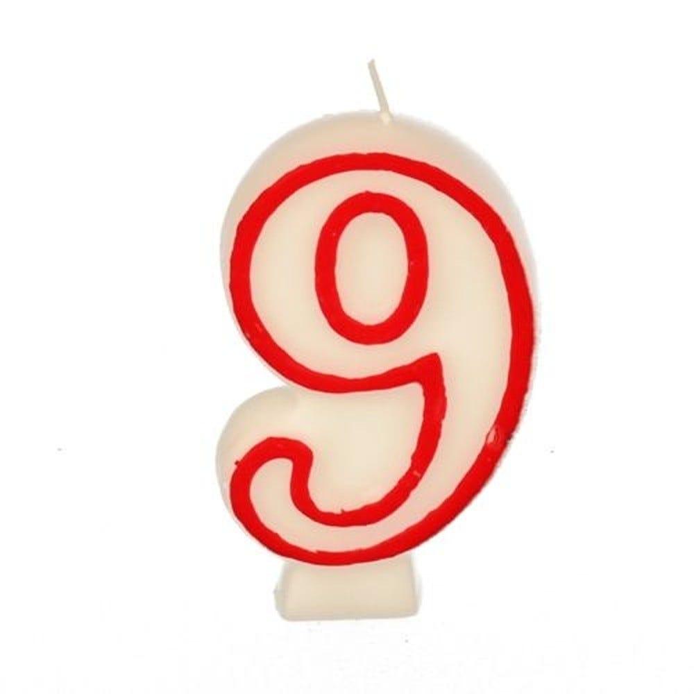 Bougie ''Chiffre'' 7,3 cm blanc ''9'' avec bord rouge par 12