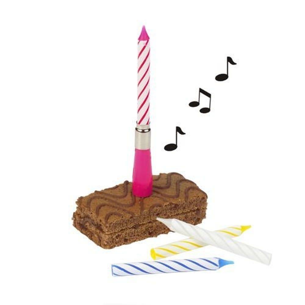 Bougie musicale 12 cm couleurs 'Happy Birthday' avec bougies de réserves par 12