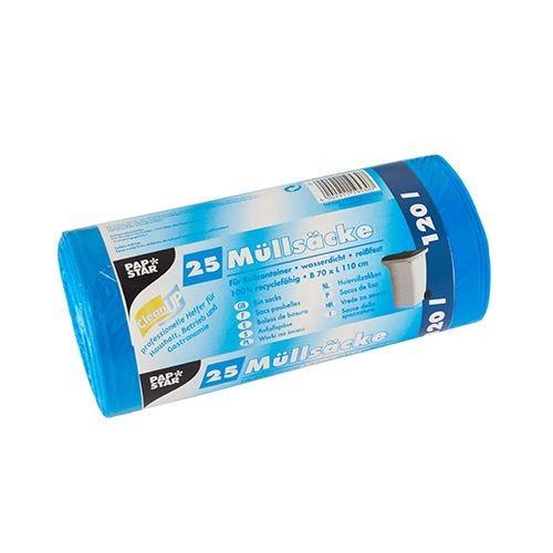 Sac poubelle, HDPE 120 l 110 cm x 70 cm bleu par 500