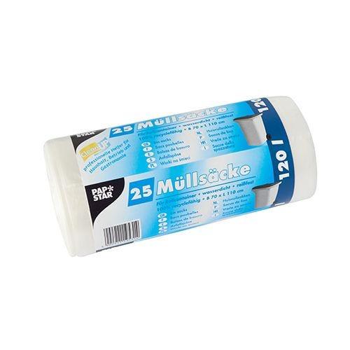 Sac poubelle, HDPE 120 l 110 cm x 70 cm transparent par 500