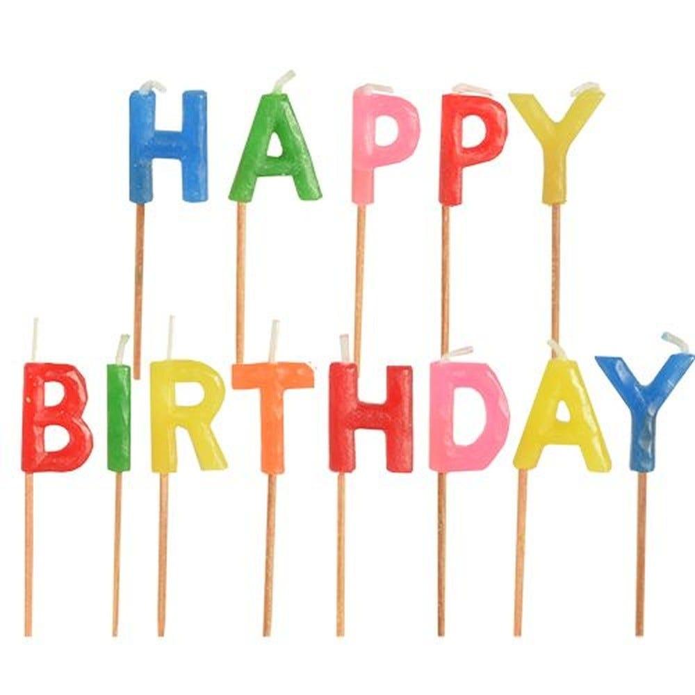Bougies d'anniversaire 8 cm ''Happy Birthday'' par 16