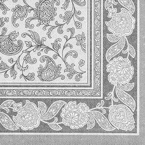 Serviette 'ROYAL Collection' pliage 1/4 40 cm x 40 cm gris 'Ornaments' par 250