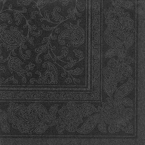 Serviette 'ROYAL Collection' pliage 1/4 40 cm x 40 cm noir 'Ornaments' par 250