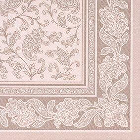 Serviette 'ROYAL Collection' pliage 1/4 40 cm x 40 cm mocca 'Ornaments' par 250