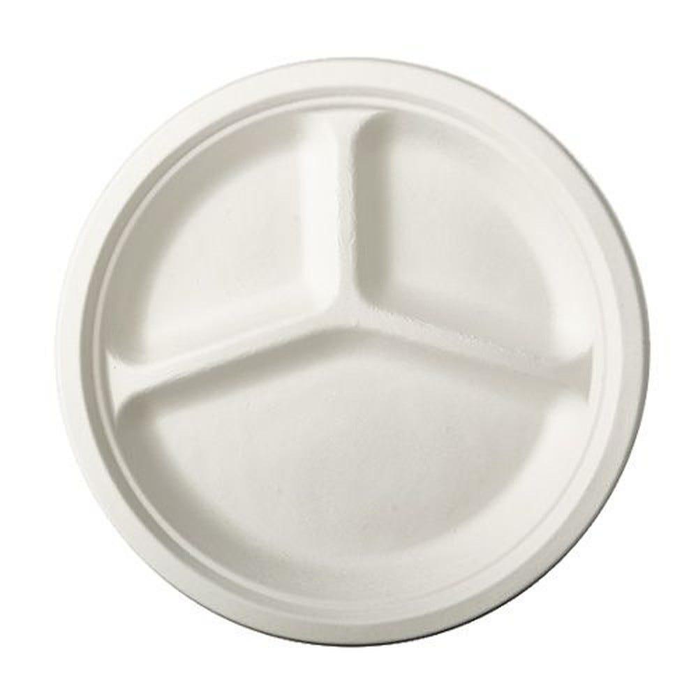 Assiette en canne à sucre ''pure'' ronde 3 compart. Ø 26 cm · 2 cm blanc par 500