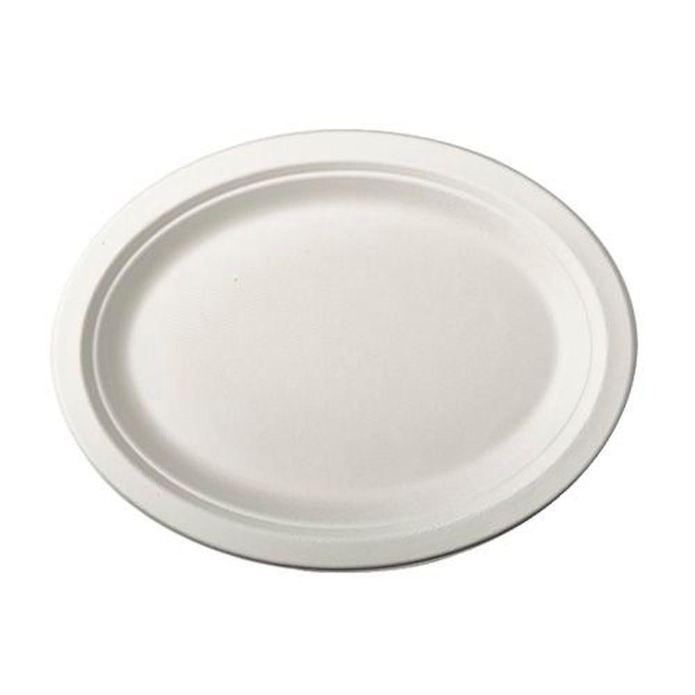Assiette en canne à sucre ''pure'' ovale 26 cm x 20 cm x 2 cm blanc par 500