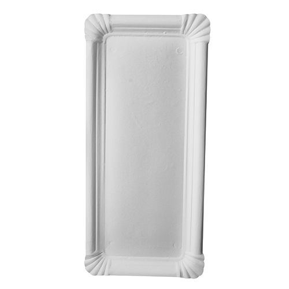 Assiette en carton ''pure'' rectangulaire 11 cm x 24 cm blanc par 1000