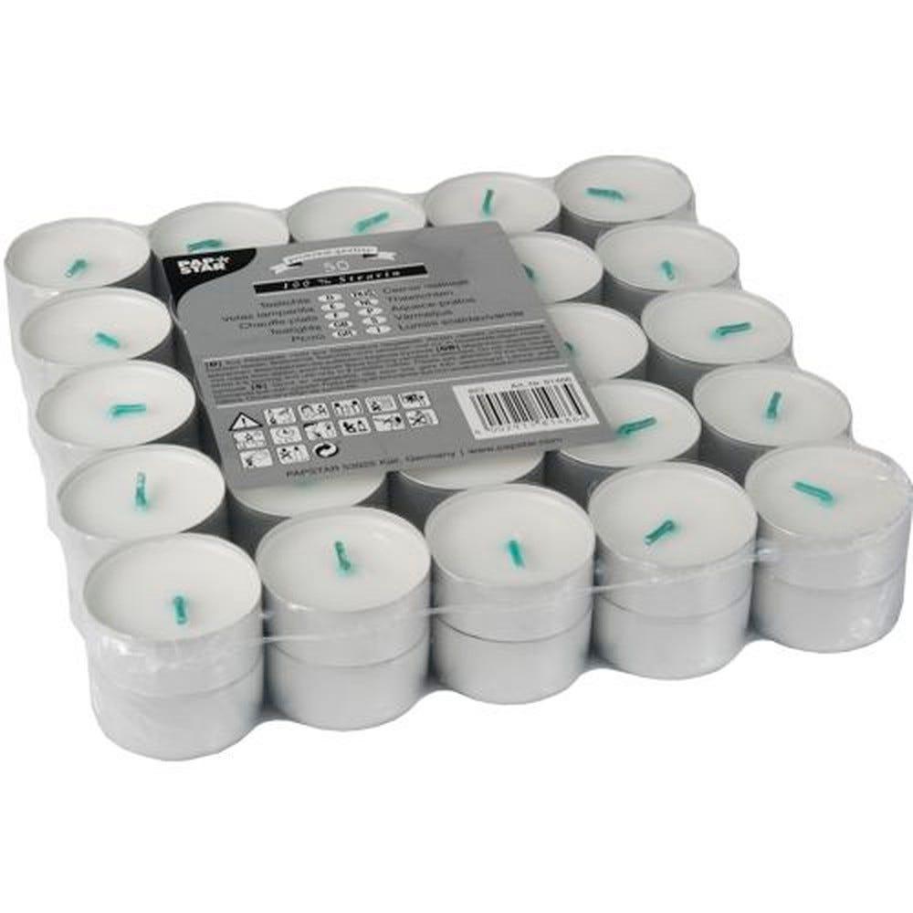 Chauffe-plats Ø 37,2 mm · 17,9 mm blanc en 100 % stéarine par 500