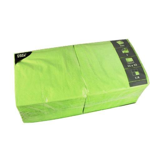 Serviette 3 plis pliage 1/4 33 cm x 33 cm vert anis par 1000