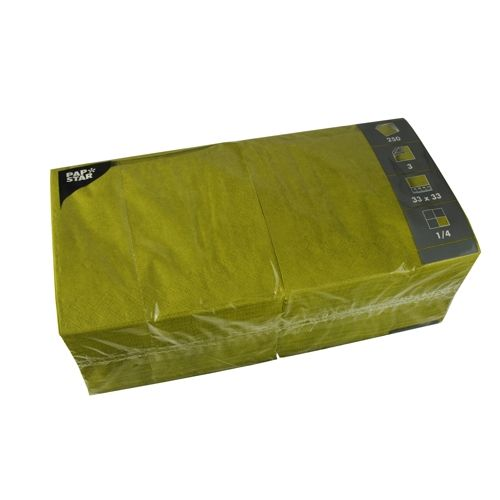 Serviette 3 plis pliage 1/4 33 cm x 33 cm vert olive par 1000