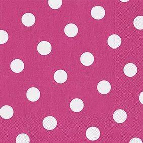 Serviette 3 plis pliage 1/4 40 cm x 40 cm fuchsia ''Dots'' par 200
