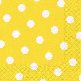 Serviette 3 plis pliage 1/4 40 cm x 40 cm jaune ''Dots'' par 200