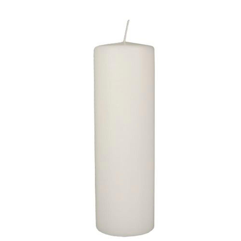 Bougie cylindrique Ø 80 mm · 250 mm blanc à tête plate par 6