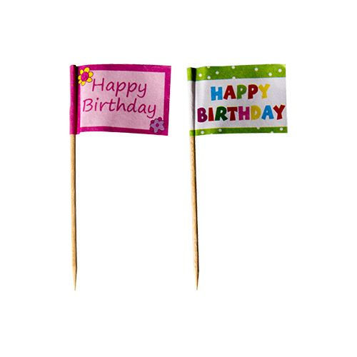 Pique décoratif 8 cm ''Happy Birthday'' par 240