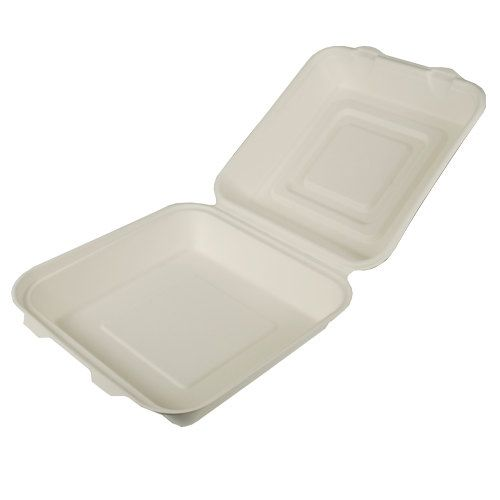 Boîte Menu en sucre de canne ''pure'' 8 cm x 25,5 cm x 25,5 cm blanc par 125