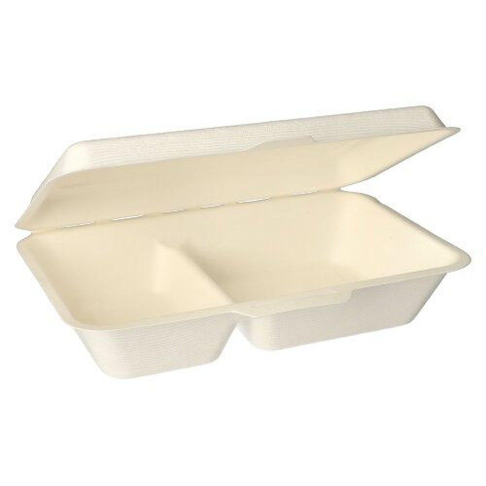 Boîte Menu en sucre de canne 2 compart. 6,5 cm x 24 cm x 15,5 cm blanc par 100