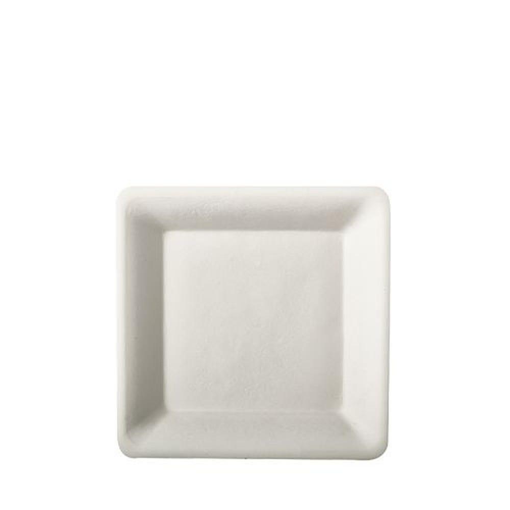 Assiette en canne à sucre ''pure'' carrée 15,5 cm x 15,5 cm blanc par 500
