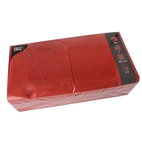 Serviette 3 plis pliage 1/4 40 cm x 40 cm rouge par 1000