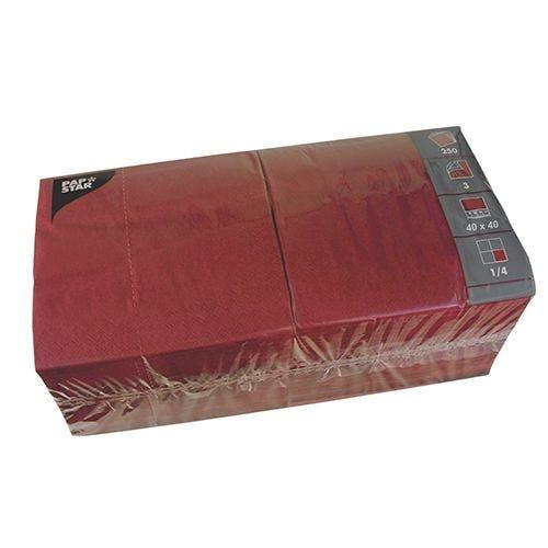 Serviette 3 plis pliage 1/4 40 cm x 40 cm bordeaux par 1000