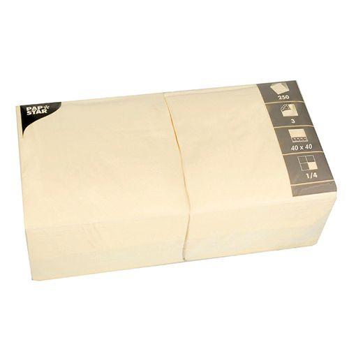 Serviette 3 plis pliage 1/4 40 cm x 40 cm crème par 1000