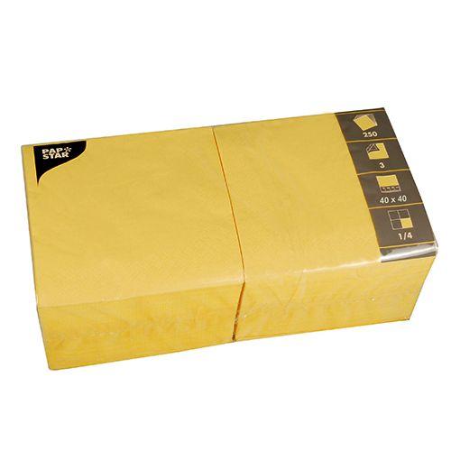 Serviette 3 plis pliage 1/4 40 cm x 40 cm jaune par 1000