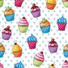 Serviette 3 plis pliage 1/4 33 cm x 33 cm ''Cupcakes'' par 200