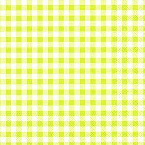 Serviette 3 plis pliage 1/4 33 cm x 33 cm vert anis ''Vichy Karo'' par 360