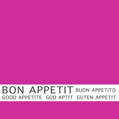 Serviette 3 plis pliage 1/4 33 cm x 33 cm fuchsia ''Bon Appetit'' par 360
