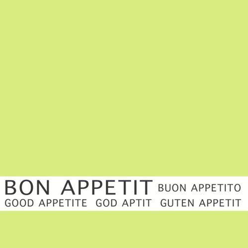 Serviette 3 plis pliage 1/4 33 cm x 33 cm vert anis ''Bon Appetit'' par 360