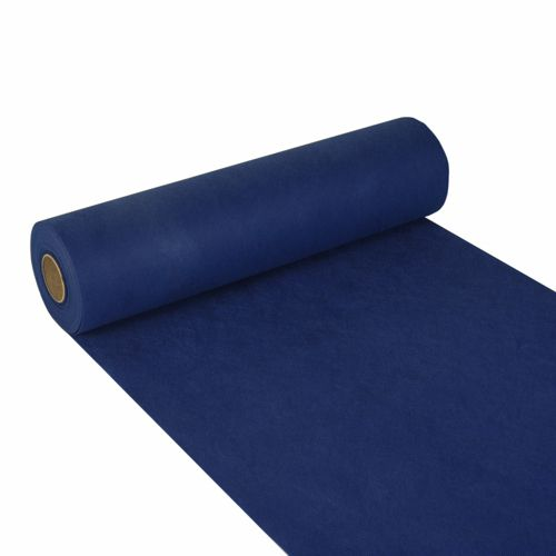 Chemin de table aspect textile ''soft selection'' 24 m x 40 cm bleu foncé par 4