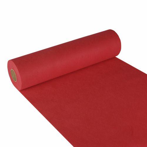 Chemin de table aspect textile ''soft selection'' 24 m x 40 cm rouge par 4